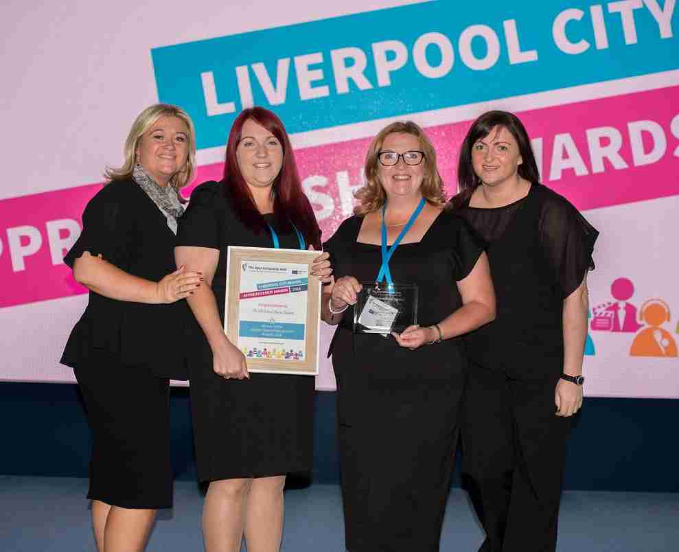 old school house nursery staff with tpm staff at LCR Apprenticeship Awards