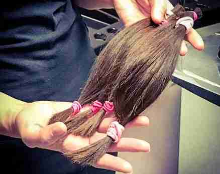 lengths of hair donated to hair loss charity by tpm staff