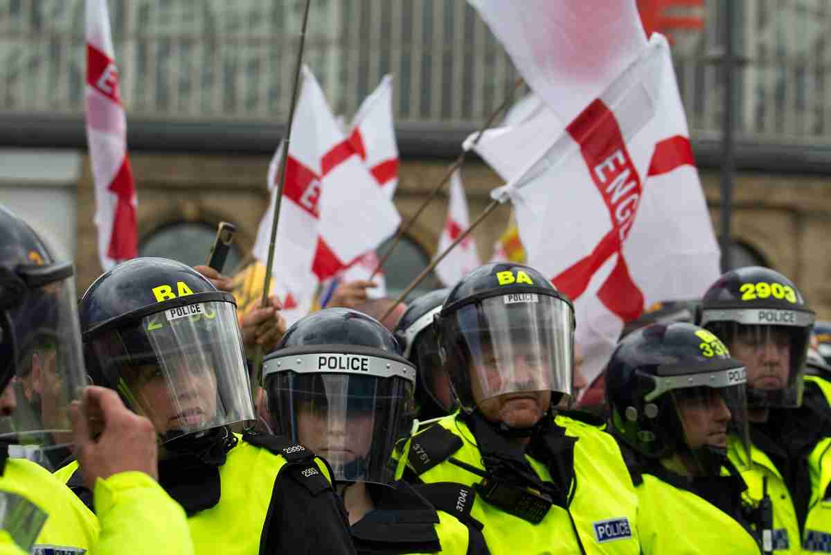 English Defence League supporters in Liverpool 2017