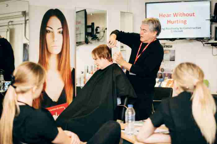 tpm apprentices watch Alan Henry demonstrating hair techniques at the masterclass
