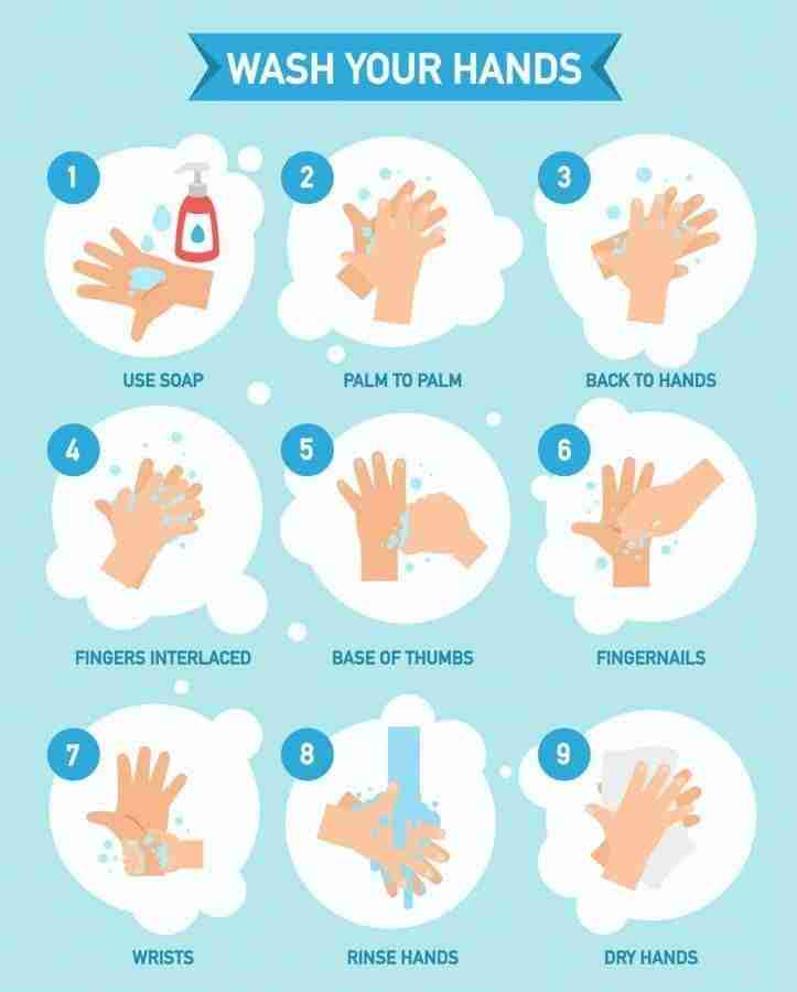 graphic showing how to wash your hands